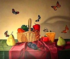 "Laura Shechter Painting ""Still Live with Butterflies"""