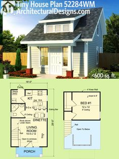 Architectural Designs Tiny House Plan 52284WM gives you just under 600 sq. ft…