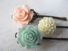 Floral hair pins in baby pink creamy ivory and by PaigeandPenelope