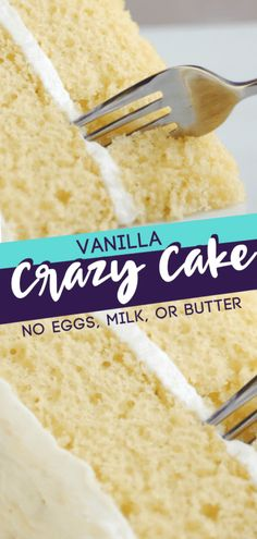 A vanilla cake without egg or milk also known as the recipe for depression cake! This milkless cake recipe is great for people with food allergies! It is a quick and delicious way to satisfy your sweet tooth! Save this pin for later! Crazy Cakes, Crazy Cake Recipes, Dessert Recipes, Cake Recipes Without Milk, Cake Recipe Without Eggs And Milk, Egg Less Cake, White Cake Recipe With Oil, No Egg Cake, Milk Recipes