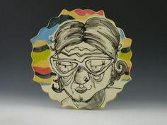 Caricature plate - Lou. $25.00, via Etsy. Catie Miller