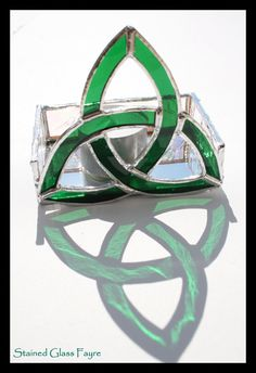 Stained Glass Trinity Knot Celtic Candle Holder or Trinket Holder