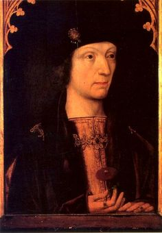Henry VII, 16th century copy of a lost original, unknown artist. This is my favorite portrait of Henry. Once more, we see the red rose, not yet merged with the white into the famous 'Tudor rose'.