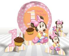 Disney Minnie Mouse 1st Birthday Balloon Centerpiece Set by Amscan. $6.39. Uninflated. Self-Sealing.. 1 per package.. 1st Birthday Balloons. From the Disney Minnie Mouse Party Supply Collection. Disney Minnie Mouse 1st Birthday Balloon Centerpiece Set. Celebrate a first birthday with this adorable centerpiece set! Includes a foil Happy 1st Birthday balloon with a pink polka dot border and orange center on a cutout stand features baby Minnie Mouse. Also includes 3 s...