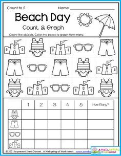 Just one look at this worksheet and you'll know it's a beach day for sure! Have your kids count and fill in the graph for numbers up to 5. Be sure to write how many in the space on the right. Please check out the entire set of my July Counting Worksheets. There's 30 summer (and 4th of July!) themed worksheets that are sure to keep your kids happy and engaged. Thanks for taking the time to look at them. :) Counting Worksheets For Kindergarten, Summer Worksheets, Graphing Worksheets, Counting For Kids, Kids Count, Writing Lines, Upper And Lowercase Letters, Business For Kids, Numbers