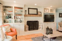 3 Delightful Clever Hacks: Living Room Remodel With Fireplace Bookcases small living room remodel tile.Livingroom Remodel Love living room remodel with fireplace mantles.Small Living Room Remodel On A Budget. Fireplace Mantle Designs, Brick Fireplace Mantles, Fireplace Bookcase, Brick Fireplace Makeover, Fireplace Remodel, Fireplace Surrounds, Small Fireplace, Wood Mantle, Fireplaces