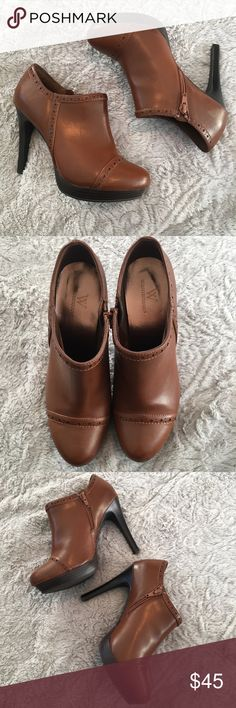 Worthington Oxford Ankle Bootie These are super cute and that perfect rich neutral brown color. Look great with jeans or a dress. Worn one time for photoshoot. In like new condition! Worthington Shoes Ankle Boots & Booties