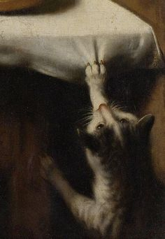 Nicolaes Maes (Dutch, 1634-1693) - Old Woman Saying Grace, Known as 'The Prayer without End' [detail of the cat], c. 1656 - Oil on canvas