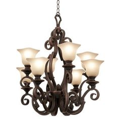 Kalco Ibiza 8 Light Shaded Chandelier Finish: Copper Claret, Shade Type: Penshell PS15