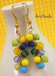 Cluster glass beads dangle earrings from LC.Pandahall.com