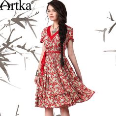 Artka Women'S Work Style Print Slim Waist Double Layer Knee-Length Expansion Bottom Short-Sleeve Ball Gown Dress LA12047X