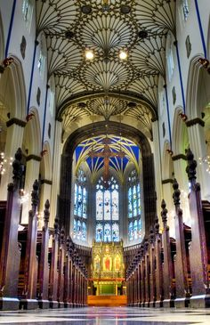Interior of the Church of St. John the Evangelist a Scottish Episcopal church in the centre of Edinburgh, Scotland.  It is sited at the west end of Princes Street, and is protected as a category A listed building.  Photo: google+.com