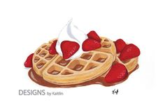 Waffles 5x7 Print from Acrylic Painting by TheDesignsbyKaitlin