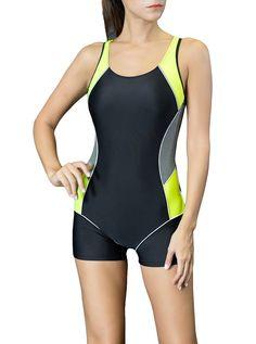 c22a2eda9f3 Women Slimming One Piece Boyleg Swimsuit Raceback Athletic Swimwear - Black  Yellow - CB17XX8CM6X
