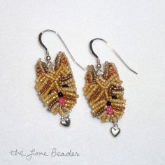 Made-to-Order: YORKIE LOVE Beaded Yorkshire Terrier dangly dog earrings by thelonebeader
