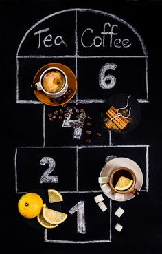 """Tea or Coffee?"" Foto di Still life photographer Dina Belenko (on Coffee And Books, Coffee Love, Coffee Break, Coffee Shop, Coffee Art, Food Photography Tips, Coffee Photography, Pause Café, Chalk Drawings"