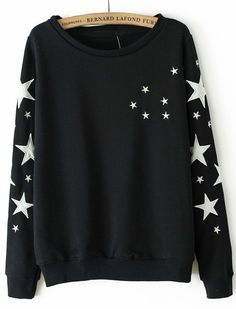 Black Long Sleeve Stars Embroidered Sweatshirt US$30.82