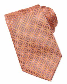 Micro-Medallion Silk Tie, Orange  by Stefano Ricci at Neiman Marcus.