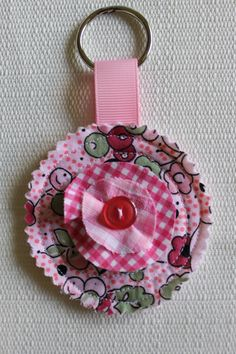 Round Quilted Fabric Key Chain with choice of by perfectdarlings, $5.50