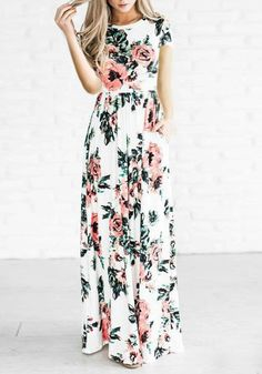 White Floral Draped Round Neck Short Sleeve Bohemian Maxi Dress