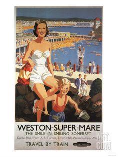Weston-super-Mare (Somerset), England - Mother & Son on Beach Railway Poster Art Print at Art.com