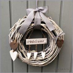 Welcome Signs Front Door, Front Porch Signs, Door Wreaths, Grapevine Wreath, Burlap Wreath, Foam Crafts, Diy And Crafts, Lavender Crafts, Blue Wedding Centerpieces