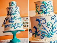 A cobalt and aqua wedding cake on a turquoise cake stand.