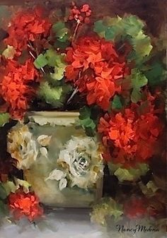 Painting / Warm Thoughts Geraniums -- Nancy Medina