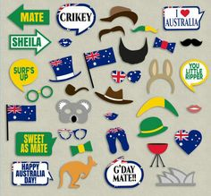 Australian Party props, diy photo booth printables – 9 x Speech Bubbles, 26 x It… summer – Woodland Wedding Ideas Trend 2019 Photo Booth Party Props, Diy Photo Booth, Australian Party, Australia Day Celebrations, Aus Day, Leaving Party, Aussie Christmas, Christmas Gifts, Thinking Day