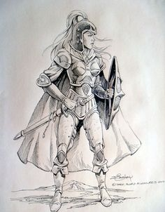 Female Paladin with Sword and Shield - Easley Masterworks - Miniature Lines