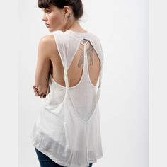 Free People Twisted Back Tank NWT Free People white jersey twist back tank Free People Tops Tank Tops