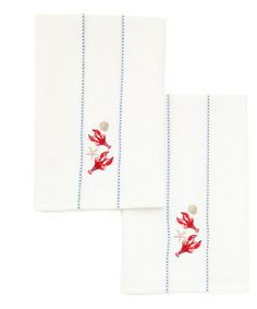 Take a look at this Lobster Embroidered Dish Towel - Set of Two by Design Imports on #zulily today!