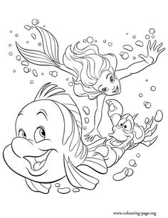 Have fun with this coloring page of Princess Ariel, Sebastian and Flounder. They are main characters from The Little Mermaid movie!