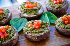 Stuffed Mushrooms. Oven to 400, blend up some bell pepper, spinach, walnuts, garlic, and onion, and then stuff the mixture into your mushrooms. Brush the mushrooms with balsamic vinegar before stuffing them and bake around  15 minutes.