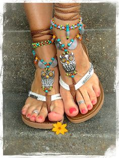 Boho OWL BAREFOOT Sandals cute Owl foot jewelry by GPyoga on Etsy, $88.00