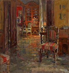 Susan Ryder RP NEAC (b.1944) —  Hallway Chair, Le Beuvriere (750x799)
