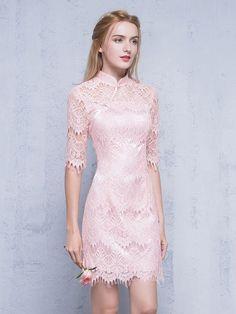 Half Sleeves Qipao / Cheongsam Dress in Lace
