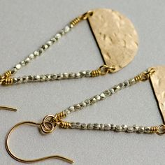 Silver and Gold mixed handmade earrings made by CherishedBijou, $62.00