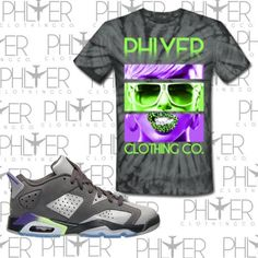 Air Jordan 6 Low Gs grey/ultraviolet-ghost Green Phlyer Edition ($30) ❤ liked on Polyvore featuring black, t-shirts, tops, women's clothing, gray top, black top, low tops, black low tops and grey top