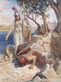 Odysseus kisses his native land, Jan Styka