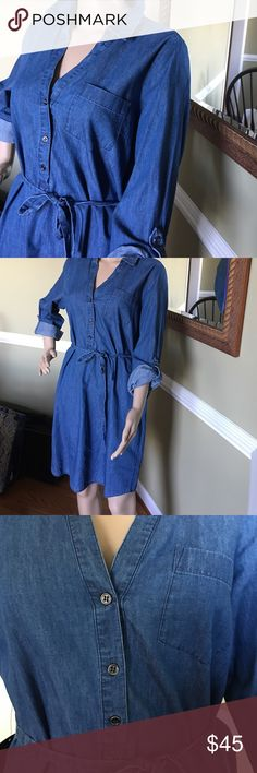 Who doesn't look good in denim Great comfy dress gorgeous The Limited Dresses Long Sleeve