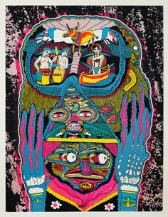 Live and Let Live, screen print, by Killer Acid : Long live print: the graphic-design gang keeping it inky Kunst Inspo, Art Inspo, Art And Illustration, Illustrations Posters, Outsider Art, Jm Basquiat, Psychadelic Art, Urbane Kunst, Acid Art