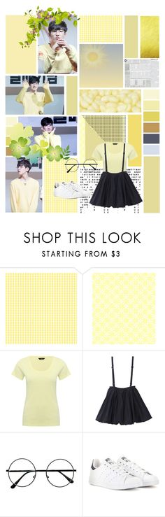 """""""Wonwoo"""" by jina-7 on Polyvore featuring M&Co, adidas, yellow, kpop, seventeen and wonwoo"""