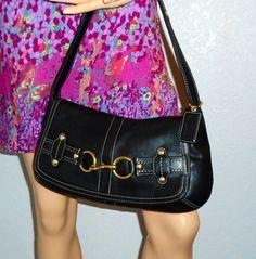 I'm auctioning '2 COACH Ergo Belted Black Leather Flap Bag ' on #tophatter