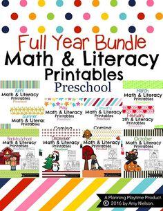 Preschool Worksheets - The Full Year Bundle by Planning Playtime Preschool Letters, Preschool Printables, Preschool Math, In Kindergarten, Printable Worksheets, Math Activities For Kids, Math For Kids, Math Literacy, Fun Math