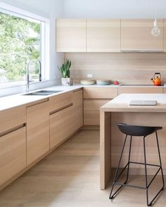KITCHEN IDEA --- These light wood cabinets have finger pulls instead of hardware, making it more contemporary and streamlined.