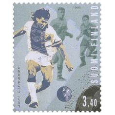 Postimerkki: Joukkueurheilu - Jari Litmanen, jalkapallo | Suomen postimerkit Postage Stamps, Baseball Cards, Finland, Stamps