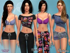 Lazy Day PJ set by Cleotopia at TSR via Sims 4 Updates