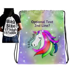 Personalized Unicorn Drawstring Back Pack, Unicorn Drawstring Backpack, Unicorn Back Pack, Gift for Girl Personalized , Fabulous Unicorn Bag by UnicornGiftsFor on Etsy Gifts For Girls, Unicorns, Drawstring Backpack, Printing On Fabric, Backpacks, Sewing, Handmade Gifts, Prints, Bags