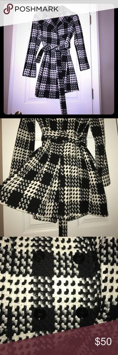 Thick Houndstooth Jacket - black and white Gorgeous, thick, and stylish houndstooth jacket. Size: XS. Beautiful back tail, double buttons and wrap around tie! One of my favorites ❤ Express Jackets & Coats